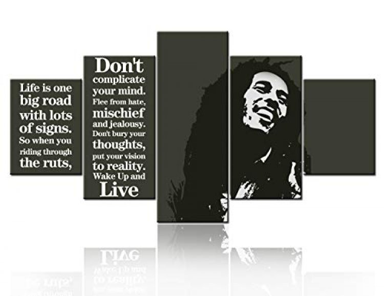 Black and White Wall Art Bob Marley Painting