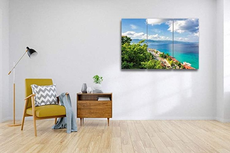 Jamaica Island, Montego Bay 3 Pieces Print On Canvas Wall Artwork