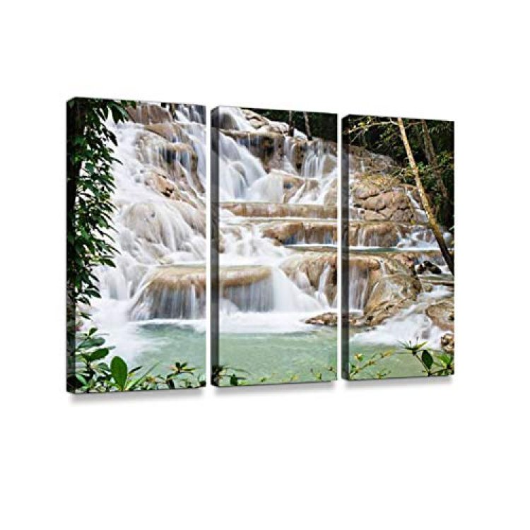 Dunn's River Falls 3 Pieces Print On Canvas Wall Artwork