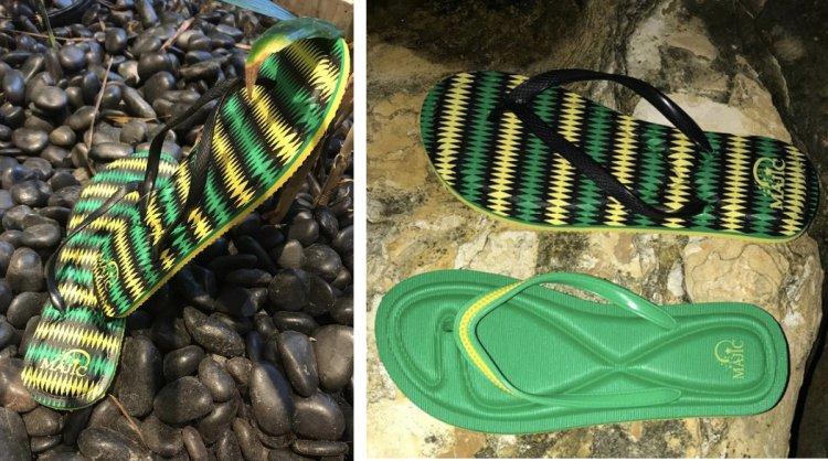 Jamaican Flag colored Majic Flip Flops